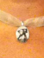 Ada Lovelace pendant on ribbon