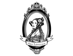 Adafruit Ada Lovelace sticker in black and white