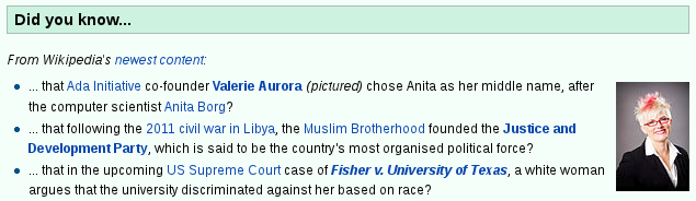 Screenshot of Wikipedia's Did You Know section showing photograph of Valerie Aurora