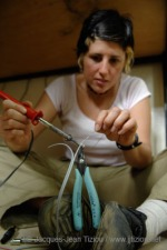 Photograph of Stephanie Alarcon using a soldering iron