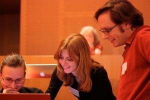 Photograph of Jessica McKellar and Boston Python Workshop participants