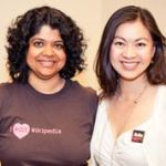 "Two women smiling, one with a t-shirt that reads ""I edit Wikipedia"" and one wearing an Ada Initiative button"