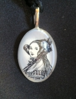 Glass cabochon with black and white portrait of Ada Lovelace