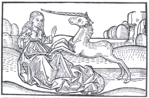Medieval woodcut of a unicorn pawing at a woman's lap