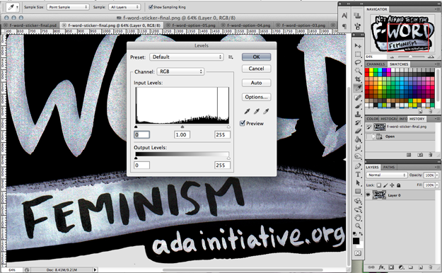Photoshop screenshot showing level adjustment