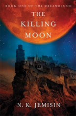 Book cover with the image of a huge red moon over a city on a plateau
