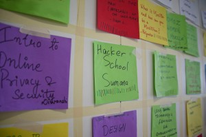 AdaCamp Bangalore schedule, made of coloured paper stuck to the wall