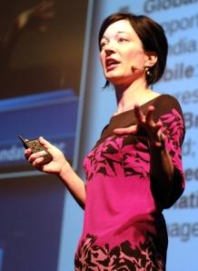 Photograph of Sue Gardner speaking at Wikimania 2011