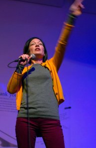 Photograph of Sue Gardner on stage at the Wikimedia Foundation's post-SOPA blackout party