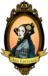 Ada Lovelace woodcut-style portrait, coloured