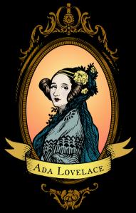 Ada Lovelace woodcut-style portrait, coloured