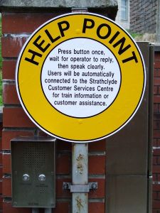 Help Point sign on train station platform