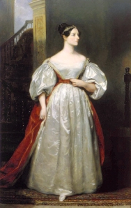 A full length oil portrait of a woman in 19th c. dress