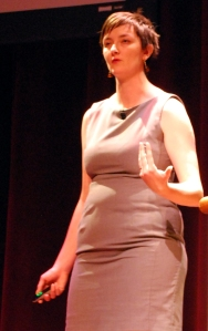 Photo of Mary Gardiner keynoting Wikimania (3/4 shot)